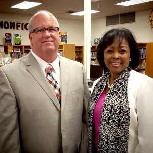 Mr. Cline, principal for Oak View Elementary School and Ms. Mills, Associate Superintendent .